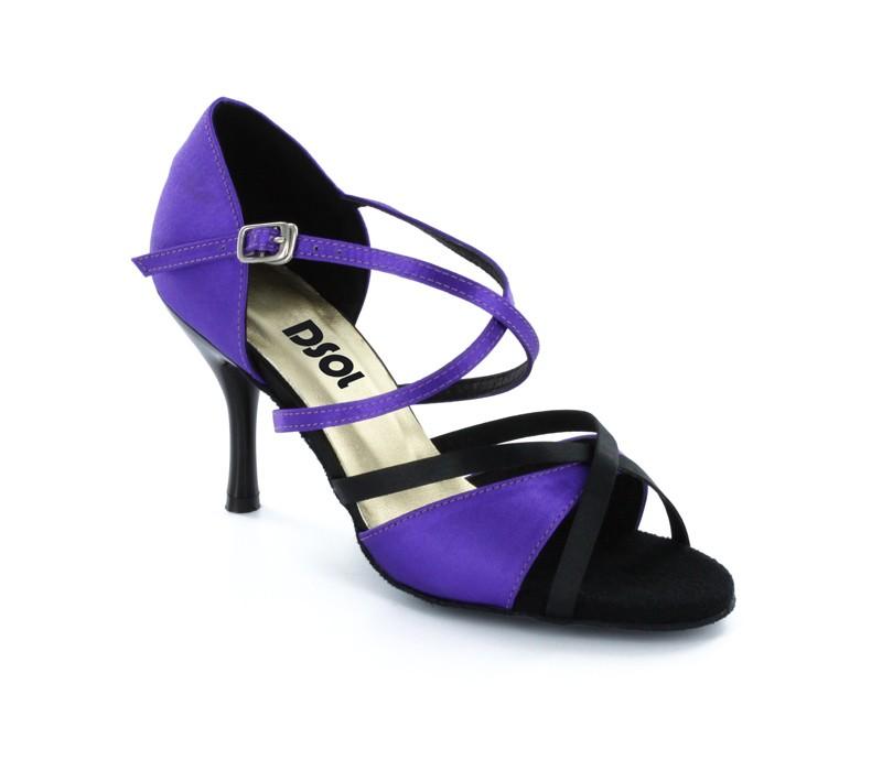 65d48be1193abd Purple   Black Satin Sandal LS174006