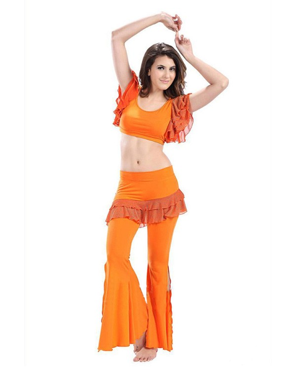a9845289977 BED-PS2004-02 BED-PS2004-02. Orange Micro Fiber & Lace 2-Piece Set Belly  Dress ...