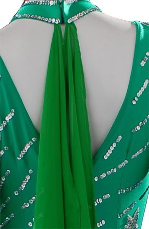 Green Lycra & Chiffon Dress  SZ-HYJ-B084