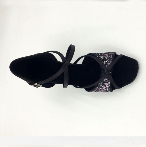 Black Satin & Sparkle Sandal adls283301
