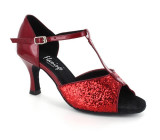 Red Sparkle & Red Shiny Leather Sandal  fls1609-10