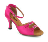 Pink Satin Sandal with Width-Adjusted Buckle fls1620-2