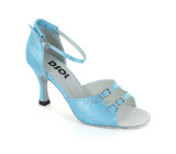 Blue Satin Sandal with Width-Adjusted Buckle LS162006