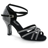 Black Satin with Rhinestones Sandal fls1621T-2