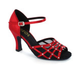 Red satin & mesh with rhinestones Sandal  LS168102