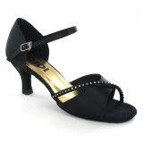 Black satin Sandal  LS172901