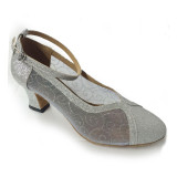 Silver Sparkling Fabric & Mesh Pumps A28972