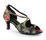 Satin with flower patterns Sandal  A290108