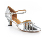 Silver leather & sparkle Pump  flp353-3
