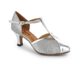 Silver leather & sparkle Pump  flp362-1