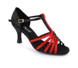 Black & red satin Sandal  fls366-3