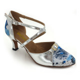 Floral Satin & Silver Patent Leather Pumps adlp787901