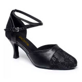 Black Patent Leather & Lace Pumps adlp788001