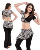 Black  & Leopard Chiffon 2-Piece Set Belly Dress  BED-PS2006-02