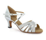Silver leather & sparkle Sandal  D1668-1
