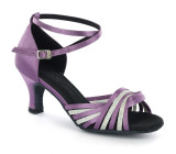 Purple satin & silver sparkle Sandal  D1686-13