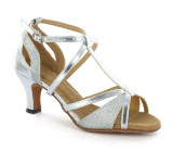 Silver leather & sparkle Sandal  D1696-2
