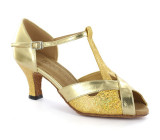 Gold leather & sparkle Sandal  D2703-1