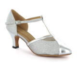 Silver leather & sparkle Pump  D362-1
