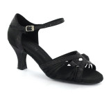 Black satin & sparkle Sandal  D6719-2