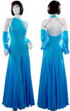 Aqua Blue Lycra & Chiffon Dress  SZ-HYJ-B063