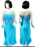 Aqua Blue lycra &Lycra Dress  SZ-HYJ-L169