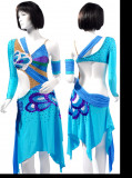 Aqua Blue lycra &Lycra Dress  SZ-HYJ-L174