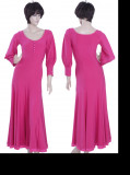 Hot Pink Sateen & Chiffon Dress  WH-XZW-B002