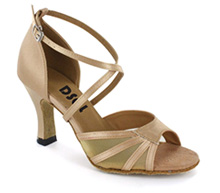 Light Tan satin with flesh mesh Sandal