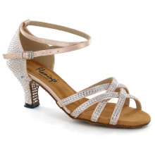 Flesh Satin with Rhinestones Sandal fls1621T-2