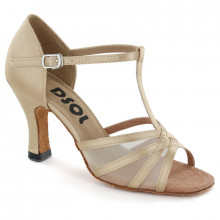 Light Tan satin with flesh mesh Sandal  LS163501