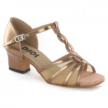 Bronze patent leather with flesh mesh Sandal  LS169203