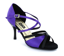 Purple & Black Satin Sandal