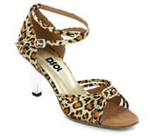 Leopard Satin Sandal  with Width-Adjusted Buckle LS174103