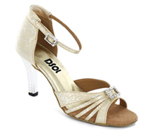 Yellow & white Patent Sandal with Width-Adjusted Buckle LS174206