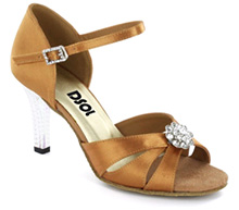 Tan Satin Sandal with Width-Adjusted Buckle LS174401