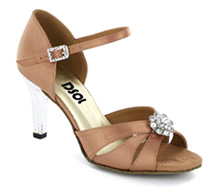 Flesh Satin Sandal with Width-Adjusted Buckle LS174403