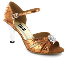 Brown Patent Sandal with Width-Adjusted Buckle LS174404