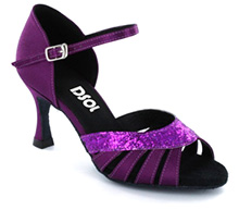 Dark purple satin & sparkle with suede sole Sandal  LS174503