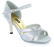 Silver satin & silver sparkle with suede sole Sandal  LS174804