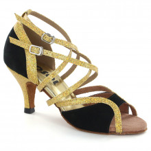 Gold Sparkle & Black Velvet Sandal 177502