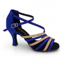 Blue Satin & Gold Sparkle Sandal adls282403