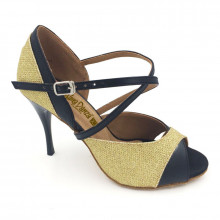 Gold Sparkle & Black Patent Leather Sandal adls282802