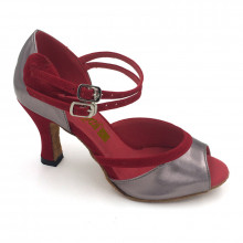 Grey Patent Leather & Red Velvet Sandal adls283207