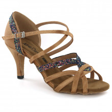 Tan Satin & Sparkle Sandal adls283401