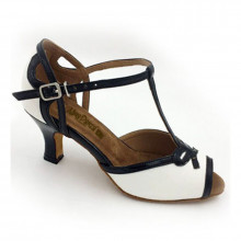 White Synthetic Leather & Black Patent Sandal adls373701