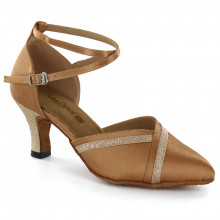 Tan Satin & Gold Sparkle Pumps adlp691601