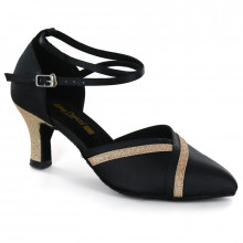 Black Satin & Gold Sparkle Pumps adlp691602