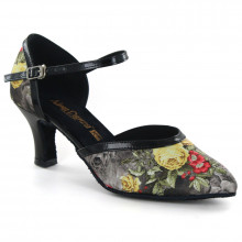 Floral Satin & Black PU Pumps adlp791203