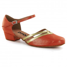 Umber Satin & Gold Patent Leather Pumps 888110